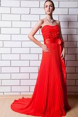 Cheap Sweetheart Pleated Scarlet Evening Party Dress