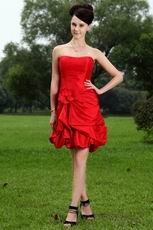 Affordable Short Scarlet Red Girls Graduation Dress