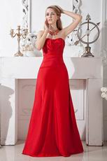 Simple Sweetheart Dropped Waist Scarlet Red Prom Eveing Dress