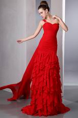 Amazing One Shoulder Cascade Skirt Red Evening Chiffon Dress