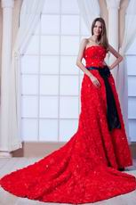 2013 New Style Scarlet Cathedral Train Prom Dress With Black Sash