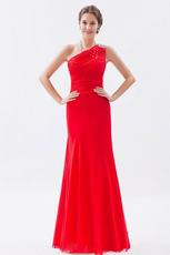 Allure One Shoulder Floor Length Evening Dress In Red