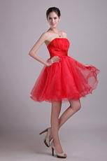 Beaded Strapless Knne Length Red Organza Short Celebrity Dress