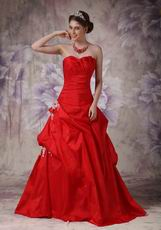 A-line Wine Red Prom Floor Length Puffy Skirt With Side Applique