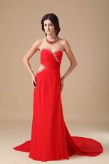 2013 Sweetheart Red Chiffon Prom Dance Dress With Panel Train