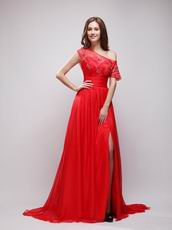 High Low Neckline Red Chiffon Night Party Dress For Girl