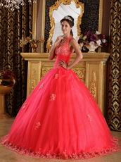 2013 Quinceanera Dress Design With Appliqued Halter Ball Gown