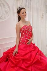 Sweetheart Neckline Puffy Quinceanera Dress In Red