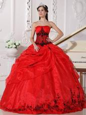 Scarlet Sweetheart Quinceanera Dress With Black Embroidery