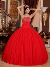 Sleeveless Beaded Scarlet Red Tulle Quinceanera Dress