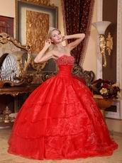 Strapless Scarlet Organza Layers Puffy Skirt Quinceanera Dress