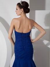 Spring Wear Royal Blue Appliqued Prom Dress With High Leg Side Split