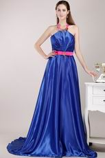 Halter Top Royal Blue Designer Pageant Prom Dresses