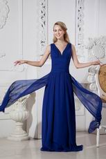 Designer V-Neck A-line Royal Blue Chiffon Dress Evening