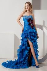Unique Ruffle Layers Skirt Blue Cocktail Dress With Feather
