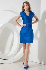 Knee Length Royal Blue Sweet 16 Dress V Neckline Design
