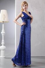 Flashy Sequin Paillette Royal Blue Evening Dress For Sale