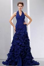 Hot Sell Halter Ruffles Skirt Sapphire Blue Prom Celebrity Dress
