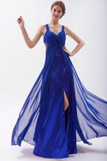 Cross Back Royal Blue Skirt With Split Special Ocassion Dresses