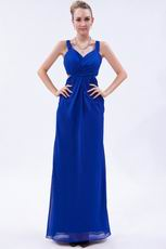 Straps V-neck Royal Blue Chiffon Prom Dress By Designer