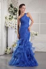 One Shoulder Mermaid Royal Blue Dresses For Evening