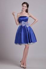 Strapless Blue Graduation Girl Dress With Bowknot Emberllish