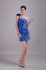 Lovely Cerulean Prom Dress With One Shoulder Neckline Skirt