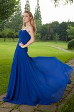 Buy Prom Dresses Sweetheart Royal Blue Chiffon Front Split Skirt