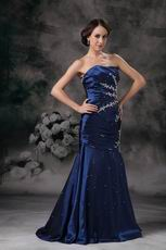 Navy Blue Lace Up Side Applique Mermaid Evening Dress