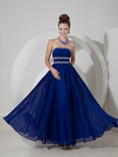 2014 New Arrival Dark Blue Floor Length Prom Evening Dress