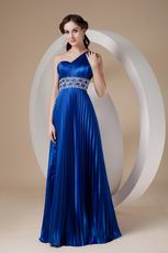 Cobalt Blue Evening Dresses One Shoulder Skirt With Split