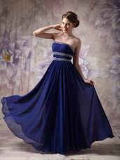 Midnight Blue Chiffon Top 2014 Spring Long A-line Prom Dress