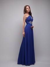 Cerulean Blue Empire One Shoulder Chiffon Prom Evening Dress