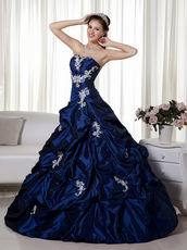 Navy Blue Strapless Trimed Quinceanera Dress By Designer