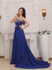 Royal Blue Chiffon Women In Cheap Formal Dresses With High Slit