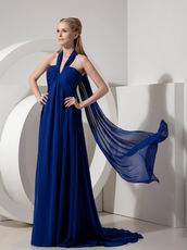 Halter Watteau Train Royal Blue 2014 Top Designer La Prom Dress