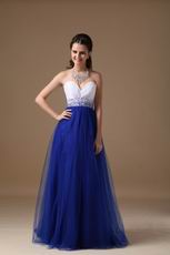 Sweetheart Floor Length Royal Blue Tulle Dress For Evening