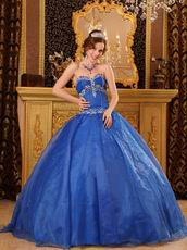 Sweetheart Floor Length Cerulean Blue Quinceanera Ball Gown