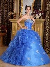 Sweetheart Ruffled Skirt Cerulean Organza Ball Gown Quinceanera