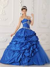 Royal Blue Appliqued Picks-up Quinceanera Dress For Discount