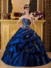 Dark Blue Appliqued Floor Length Quinceanera Dress Gown