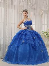 Royal Blue Cascade Design Floor Length Ball Dress In Texas