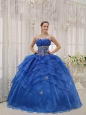 Royal Blue Cascade Design Floor Length Ball Dress In Texas