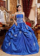 Cerulean Blue Color Floor Length Ball Dress Military Party