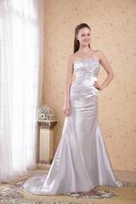 Strapless Appliqued Silver Long Prom Dress New Arrival
