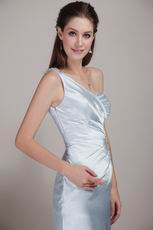 One Shoulder Show Waist Light Blue A Prom Dress Suppliers
