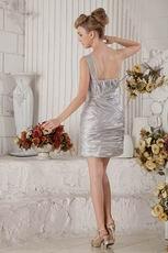 Cheap One Shoulder Silver Elestic Woven Satin Sweet 16 Dress