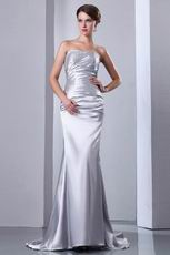 Sleeveless Corset Fishtail Silver Elestic Woven Satin Formal Dress