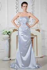 Special Occasion Silver Elestic Satin Dress For Women