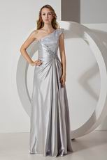 Best One Shoulder Silver Long Evening Dress With Applique